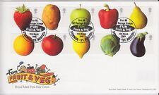 GB primer día cubierta 2003 fruta y verdura Pegatina St Austell cancelar sin resolver