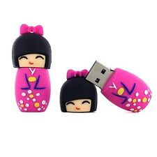Pink Japanese doll Girl USB key Kokeshi Flash drive, Pen drive 8 Gb/Go