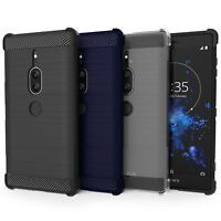 Sony Xperia XZ2 Premium Carbon Fibre TPU Silicone Gel Case Protection Cover