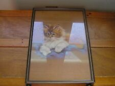 Vintage Orange & White Fluffy Kitty Cat on Blue Blanket Colored Lithograph Pic