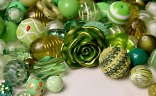 Green Bulk Beads, 1/2 Lb Quality, Resin, Acrylic, Wood Bubblegum Beads BB105
