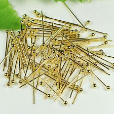 1000Pcs Beautiful 50mm Gold Copper Ball Head Pins D0077466