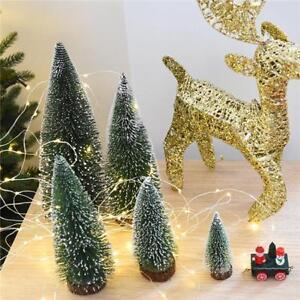 Mini Sisal Bottle Brush Christmas Tree Santa Snow Frost Village House Top JA