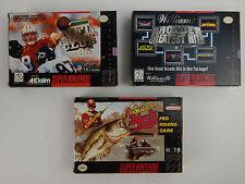 Lot 3 SNES Games All 100% Complete w/  Boxes NFL Club Super Black Bass Arcade