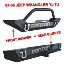 "TEXTURED Front Bumper Winch Plate+Rear Bumper 2"" Hitch 87-06 Jeep YJ TJ Wrangler"