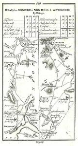 Antique map, Road from Wexford to New Ross, Hoarstown to Wexford