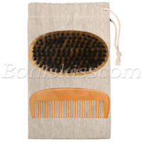 Mens Natural Wood Handle Boar Hair Bristle Beard Mustache Round Brush & Comb Set