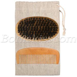 Mens Natural Wood Handle Boar Hair Bristle Beard Mustache Round Brush & Comb Set