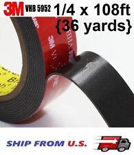 "3M 1/4"" x 108 Ft VHB Double Sided Foam Adhesive Tape 5952 Automotive"