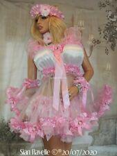 Sian Ravelle LUXURY PINK WHITE SATIN SHEER ORGANZA SISSY MAID AB BABY DOLL DRESS