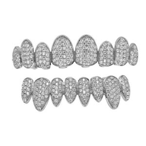 14K Gold Plated Hip Hop CZ Teeth Grillz Top Bottom Mouth Silver Grill Set Custom