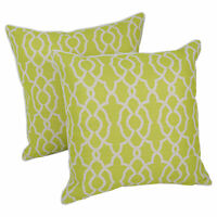"""Blazing Needles 18""""Corded Throw Pillows with Inserts (Set of 2) - Green Lattice"""