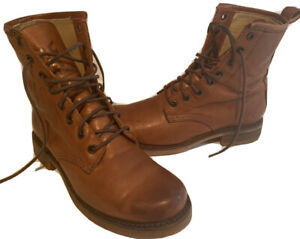 Frye Veronica Combat Lace Boots 6.5B Whiskey Brown Retail $278-NICE!