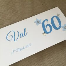 1 Handmade Personalised Birthday Money Gift Voucher Wallet Card Any Age Glitter
