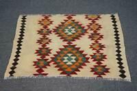 3x4 Vintage Oriental Traditional Handmade Tribal Wool Geometric Kilim Area Rug