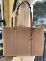 NWT MICHAEL KORS LEATHER SADY LARGE MULTIFUNCTION TOP ZIP TOTE BAG IN BALLET