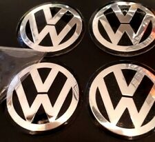 4 x 56mm VW Black Centre Caps Overlays/Stickers/Emblems Aluminium EMBOSSED LOGO