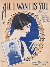 All I Want Is You, Master Gilbert photo,1927, vintage sheet music