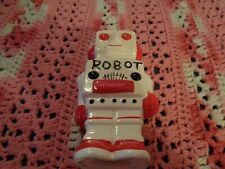 VINTAGE RED AND WHITE ROBOT TOY BANK