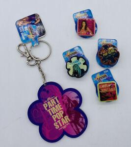 4 Disney Hannah Montana Jibbitz Crocs Shoe Charms Jibbits Pop Star & Key Chain