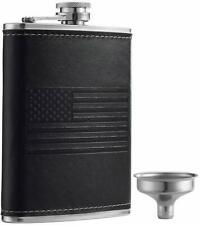 YWQ Stainless Steel American Flag Flask, Soft Touch Cover Liquor Flasks 8oz  