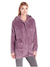 New PJ SALVAGE Grape Purple Cozy Plush Buttoned Hoodie Coat Jacket M