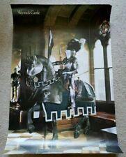 Warwick Castle 1990s Medieval Knight Horseback Suit of Armor PROMO Poster VG