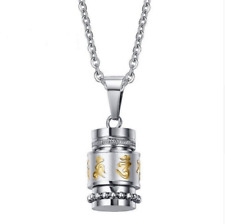 Buddhist Prayer Pendant Urn Open Vial Jewellery Keepsake Capsule Chain Necklace