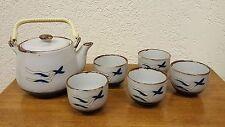 Vintage 6 Piece Flying Birds Asian Motif Gray Blue Brown Ceramic Tea Set