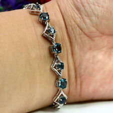 "NATURAL LONDON BLUE TOPAZ, BLUE SAPPHIRE & CZ BRACELET 7.5"" 925 STERLING SILVER"