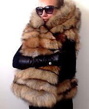 SUMMER SALE  XL Spectacular real fur fox jacket coat vest hood