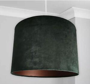 New HQ Luxury Velvet Lamp Shade Pendant With Bronze Inner Effect Bottle Green 30