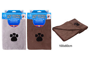 2 x PET TOWELS MICROFIBER QUICK ABSORBENT DRYING BATH CAT DOG BLANKET 100 x 60cm