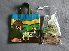 Oil Cloth Bag & Wooden New Toy Farm Set