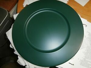 """13"""" Charger Plates Set of 8 metal tin dark forest green"""