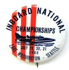 1966 INBOARD NATIONAL CHAMPIONSHIPS SEATTLE pinback button hydroplane boat b1