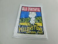 ORIGINAL VINTAGE TRAVEL WINDOW DECAL YELLOWSTONE NATIONAL PARK OLD FAITHFUL