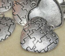 Autism Awareness Puzzle Piece Metal Heart Charms Silver Jewelry Lot of 6