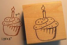 """P10 Cupcake rubber stamp WM Birthday 1x2"""""""