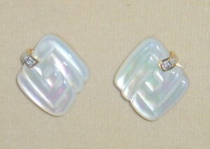 SOLID    14K  Gold     Hand  Carved    MOTHER  of   PEARL   Diamond   Earrings