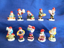 CANDY GNOMES Set of 10 Mini Figurines FRENCH Porcelain FEVES Licorice CONFECTION