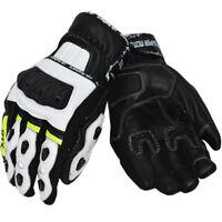 RTX G4 White Neon SUPER MOTO Pro Sports Short Biker CE LEATHER Motorcycle Gloves