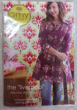 "New UC ""LIVERPOOL"" Shirt Amy Butler Midwest Modern Sewing Pattern Tuni Dress 3/4"