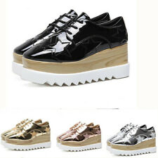 Womens Square Toe Lace Up Super High Wedge Heel Leather Platform Stars Shoes Hot