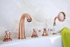 Antique Red Copper Deck Mounted 5 Holes Roman Bathtub Faucet Handshower Ptf233