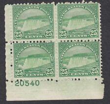 USA 1922 MHR PLATE BLOCK OF 4 NIAGARA FALLS