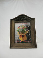 Wooden Picture Photo Frame Standing Leaf Flower Design Glass Insert A8