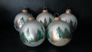 "Set  5 Vintage German 3.5"" Frosted Glass Ball Ornaments Trees Forest Green Gold"