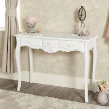 Bianco a 3 Cassetti Console Toletta Vintage Francese Chic Sala