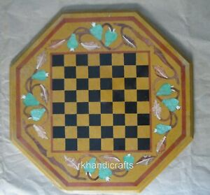17 Inches Yellow Marble Game Table Top Octagonal Coffee Table with Check Pattern